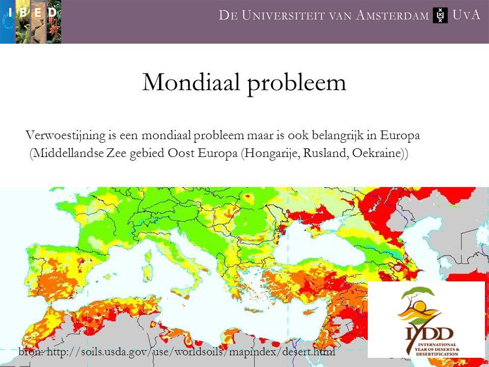 Mondiaal probleem Verwoestijning is een mondiaal probleem maar is ook belangrijk in Europa (Middellandse Zee gebied Oost Europa (Hongarije, Rusland, O