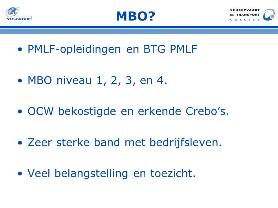 MBO? PMLF-opleidingen en BTG PMLF MBO niveau 1, 2, 3, en 4. OCW bekostigde en erkende Crebo's. Zeer sterke band met bedrijfsleven. Veel belangstelling