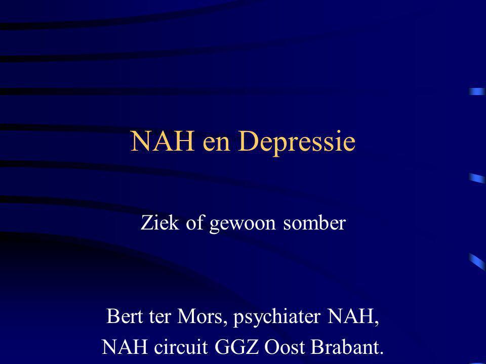 NAH en Depressie Ziek of gewoon somber Bert ter Mors, psychiater NAH, NAH circuit GGZ Oost Brabant.
