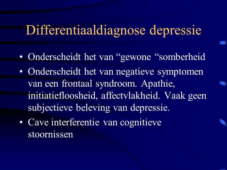 """Differentiaaldiagnose depressie Onderscheidt het van """"gewone """"somberheid Onderscheidt het van negatieve symptomen van een frontaal syndroom. Apathie,"""