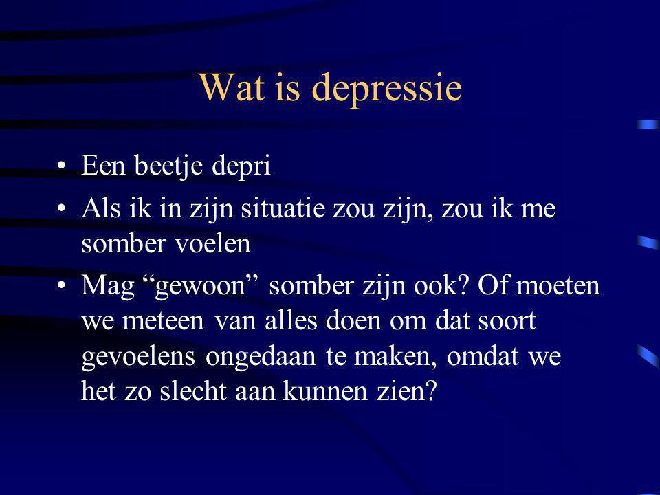 """Wat is depressie Een beetje depri Als ik in zijn situatie zou zijn, zou ik me somber voelen Mag """"gewoon"""" somber zijn ook? Of moeten we meteen van alle"""