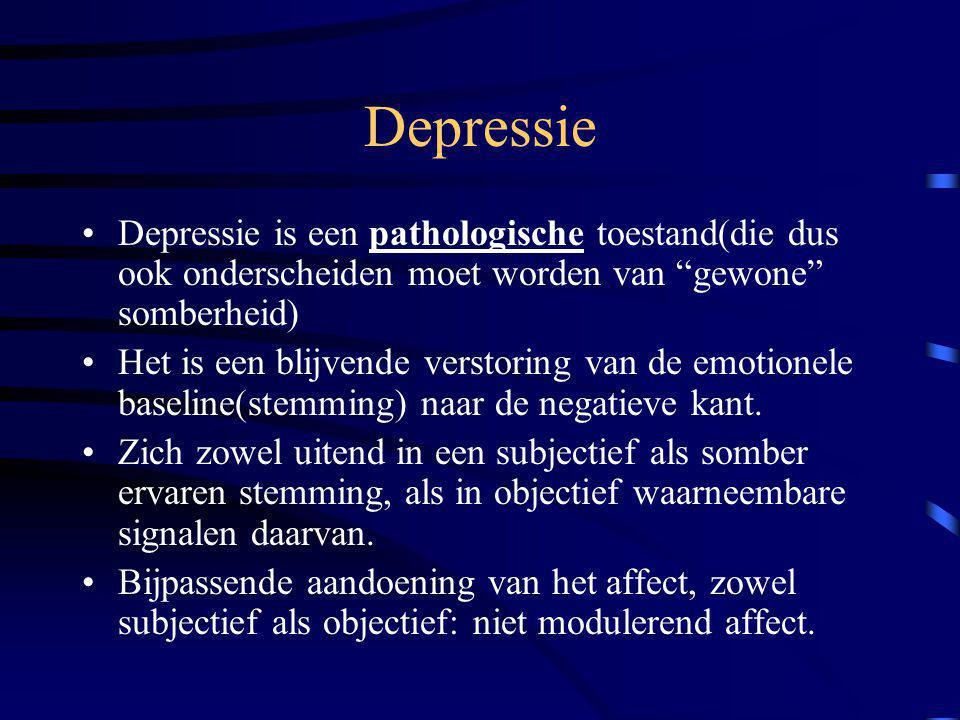 """Depressie Depressie is een pathologische toestand(die dus ook onderscheiden moet worden van """"gewone"""" somberheid) Het is een blijvende verstoring van d"""