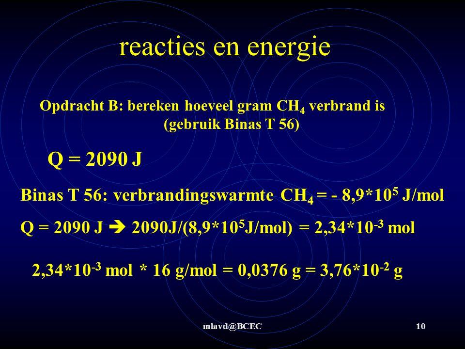 mlavd@BCEC10 reacties en energie Q = 2090 J Opdracht B: bereken hoeveel gram CH 4 verbrand is (gebruik Binas T 56) Binas T 56: verbrandingswarmte CH 4