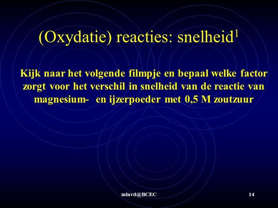 mlavd@BCEC14 (Oxydatie) reacties: snelheid 1 Kijk naar het volgende filmpje en bepaal welke factor zorgt voor het verschil in snelheid van de reactie