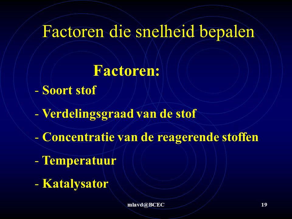 mlavd@BCEC19 Factoren die snelheid bepalen Factoren: - Soort stof - Verdelingsgraad van de stof - Concentratie van de reagerende stoffen - Temperatuur