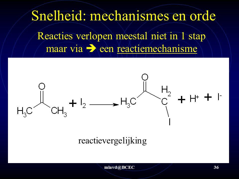 mlavd@BCEC36 Snelheid: mechanismes en orde Reacties verlopen meestal niet in 1 stap maar via  een reactiemechanisme reactievergelijking