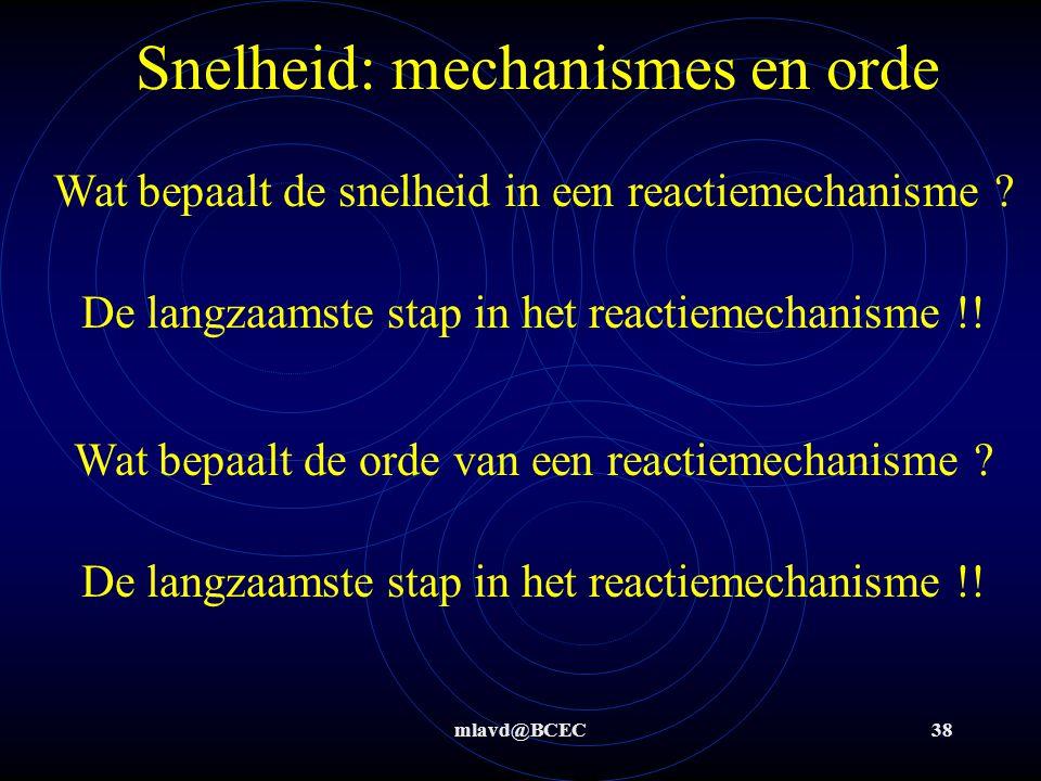 mlavd@BCEC38 Snelheid: mechanismes en orde Wat bepaalt de snelheid in een reactiemechanisme ? De langzaamste stap in het reactiemechanisme !! Wat bepa