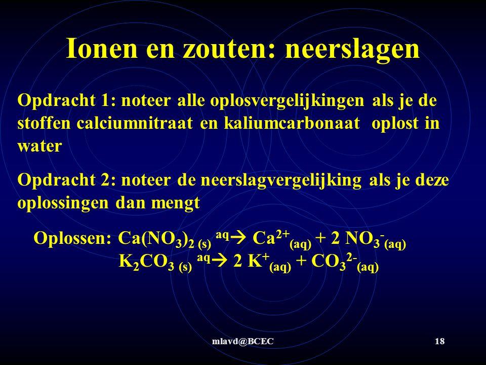 mlavd@BCEC17 Ionen en zouten: neerslagen NO 3 - OH - Na + Fe 3+ Stap 2: noteer in de tabel de gegevens van Binas T45 bij de combinaties van al de ionen (g, m, s) g g gs Stap 3: noteer de neerslagvergelijking als er een m of s in de tabel voorkomt .