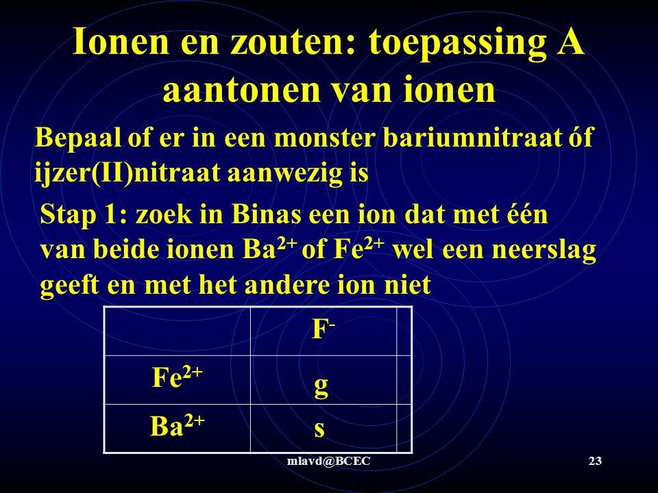 mlavd@BCEC22 Ionen en zouten: toepassing A aantonen van ionen Stap 4: neerslagvergelijking Ag + (aq) + Cl - (aq)  AgCl (s)  Als neerslag dan was er Cl - aanwezig  Als geen neerslag dan was er geen Cl -