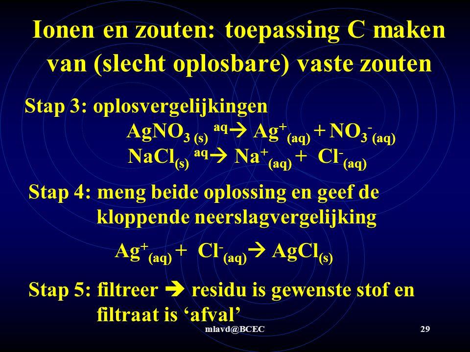 mlavd@BCEC28 Ionen en zouten: toepassing C maken van vaste zouten Maak, uitgaande van 2 andere goed oplosbare zouten, het slecht oplosbare zout zilverchloride Stap 1: zilverchloride = AgCl  nodig Ag + en Cl - Stap 2: zoek goed oplosbare ioncombinaties met Ag + en Cl -  nodig AgNO 3 en NaCl