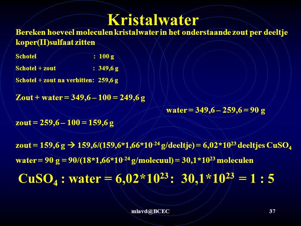 mlavd@BCEC36 Kristalwater Bereken hoeveel moleculen kristalwater in het onderstaande zout per deeltje koper(II)sulfaat zitten Schotel : 100 g Schotel + zout : 349,6 g Schotel + zout na verhitten: 259,6 g