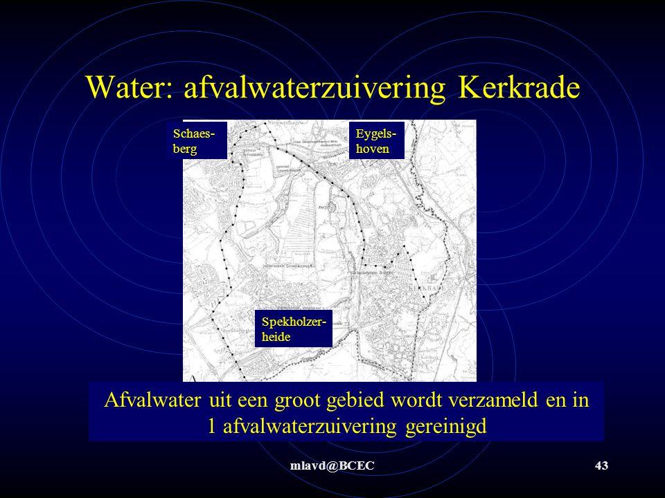 mlavd@BCEC42 Water: afvalwaterzuivering Ons afvalwater wordt in grote zuiveringsinstallaties (bv in Kerkrade en Hoensbroek) o.a.