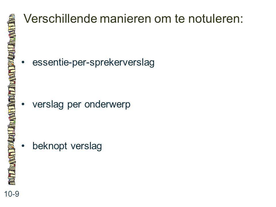 Verschillende manieren om te notuleren: 10-9 essentie-per-sprekerverslag verslag per onderwerp beknopt verslag