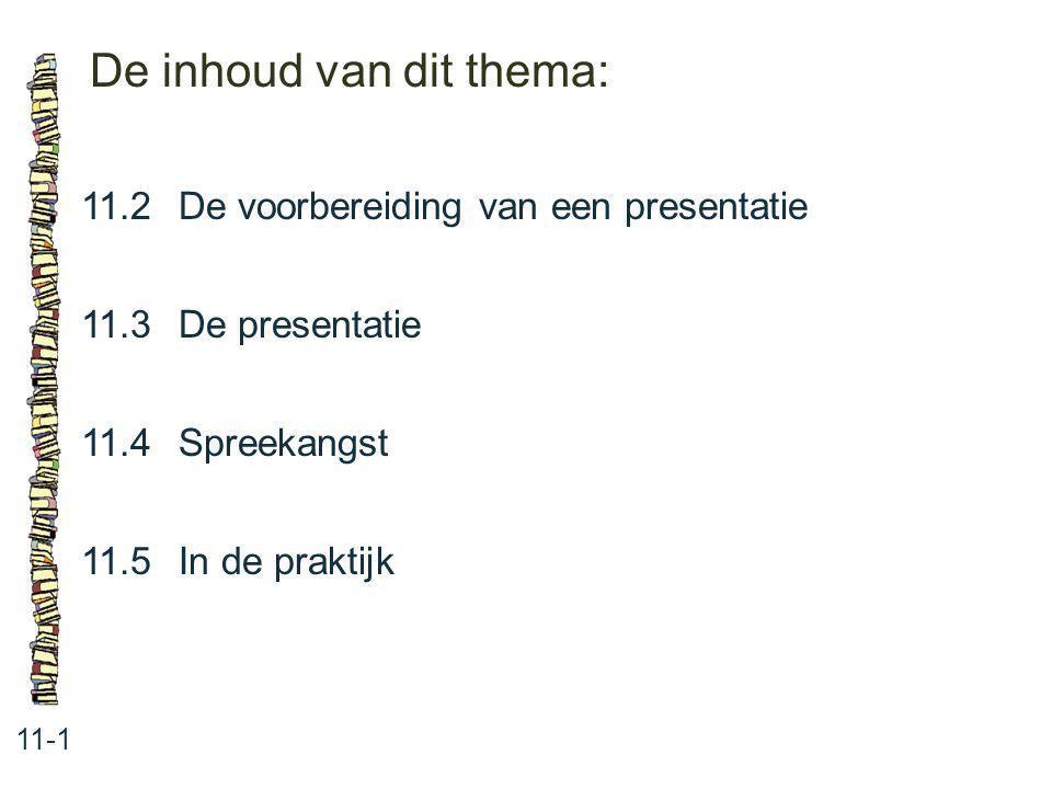 De inhoud van dit thema: 11-1 11.2De voorbereiding van een presentatie 11.3De presentatie 11.4Spreekangst 11.5In de praktijk
