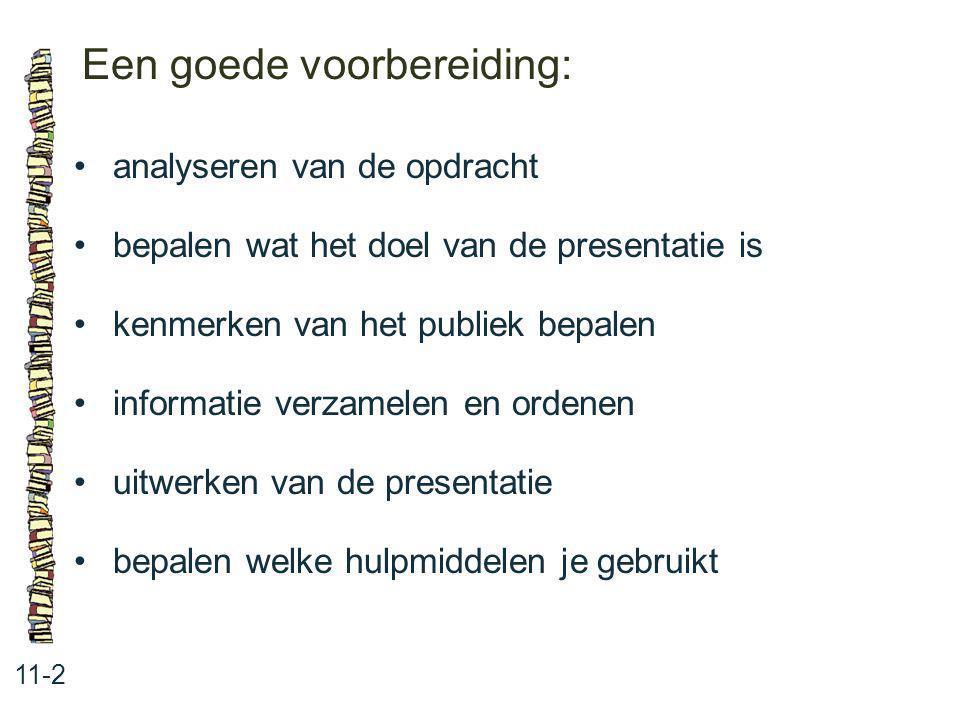 Een goede voorbereiding: 11-2 analyseren van de opdracht bepalen wat het doel van de presentatie is kenmerken van het publiek bepalen informatie verza