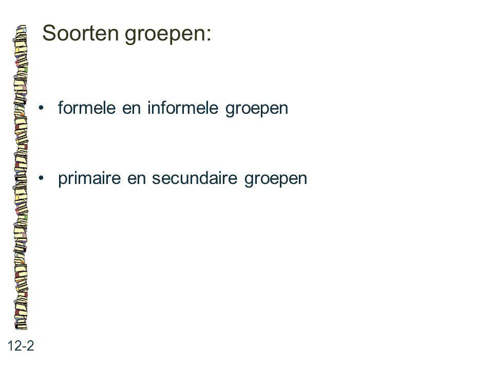 Soorten groepen: 12-2 formele en informele groepen primaire en secundaire groepen