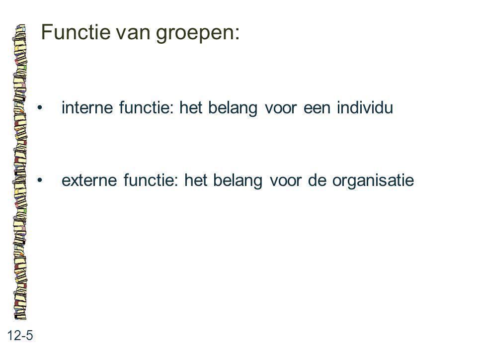 Functie van groepen: 12-5 interne functie: het belang voor een individu externe functie: het belang voor de organisatie