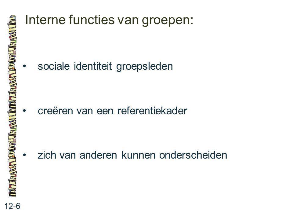 Interne functies van groepen: 12-6 sociale identiteit groepsleden creëren van een referentiekader zich van anderen kunnen onderscheiden