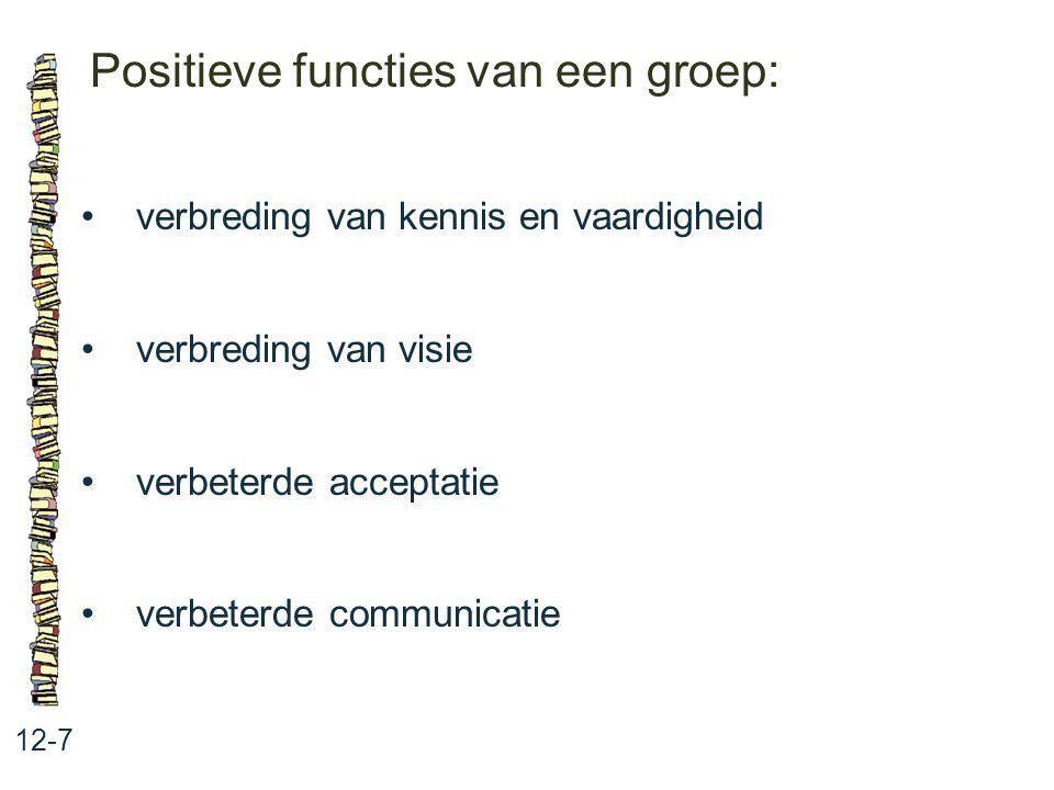 Positieve functies van een groep: 12-7 verbreding van kennis en vaardigheid verbreding van visie verbeterde acceptatie verbeterde communicatie