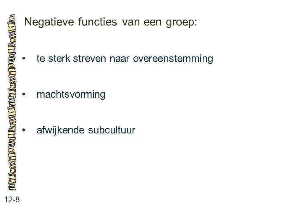 Negatieve functies van een groep: 12-8 te sterk streven naar overeenstemming machtsvorming afwijkende subcultuur