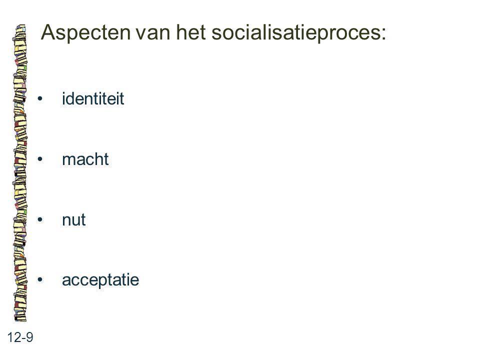 Aspecten van het socialisatieproces: 12-9 identiteit macht nut acceptatie