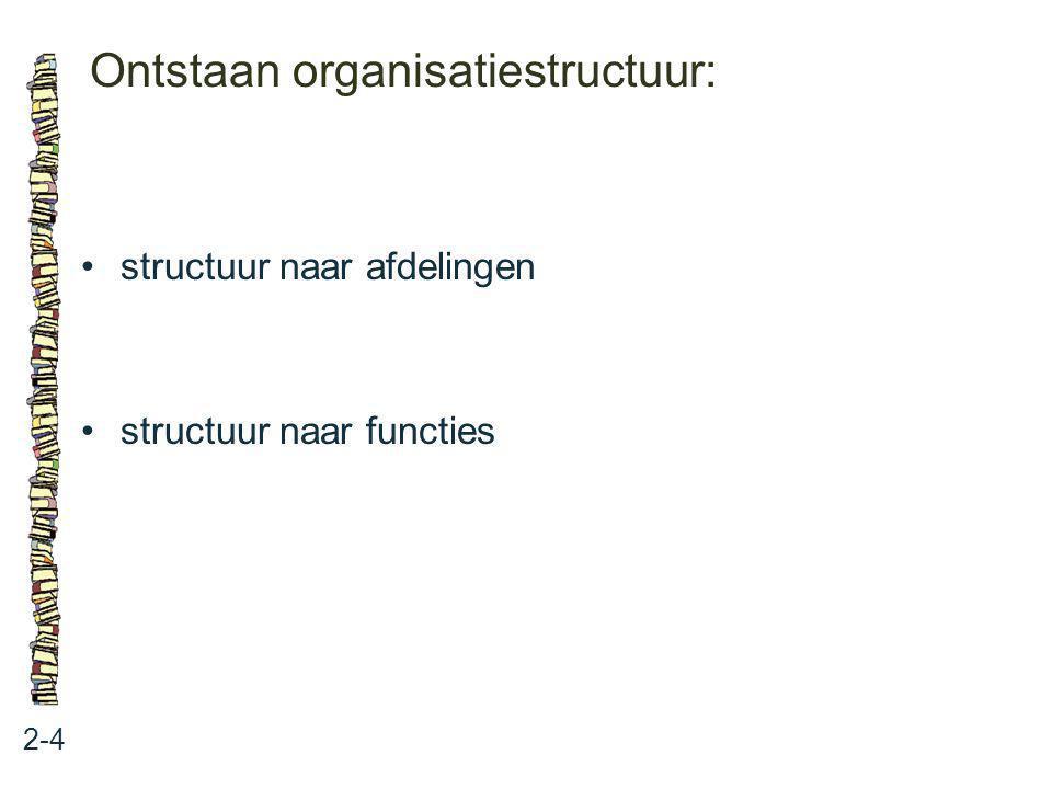 Ontstaan organisatiestructuur: 2-4 structuur naar afdelingen structuur naar functies