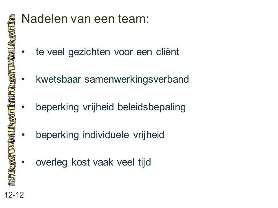 Nadelen van een team: 12-12 te veel gezichten voor een cliënt kwetsbaar samenwerkingsverband beperking vrijheid beleidsbepaling beperking individuele