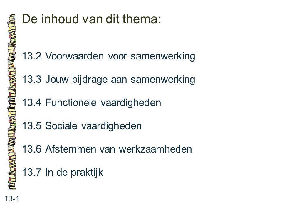De inhoud van dit thema: 13-1 13.2 Voorwaarden voor samenwerking 13.3 Jouw bijdrage aan samenwerking 13.4 Functionele vaardigheden 13.5 Sociale vaardi
