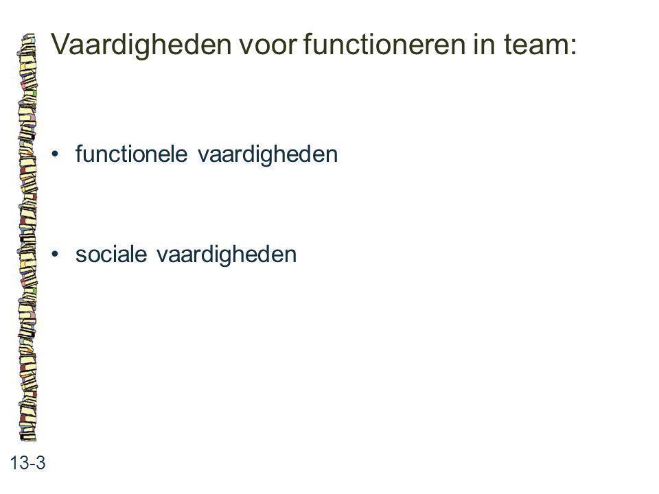 Vaardigheden voor functioneren in team: 13-3 functionele vaardigheden sociale vaardigheden
