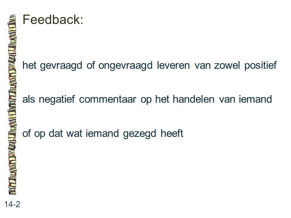 Feedback: 14-2 het gevraagd of ongevraagd leveren van zowel positief als negatief commentaar op het handelen van iemand of op dat wat iemand gezegd he