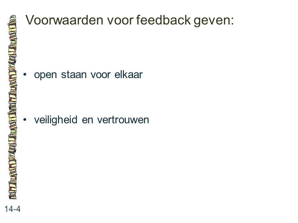 Voorwaarden voor feedback geven: 14-4 open staan voor elkaar veiligheid en vertrouwen