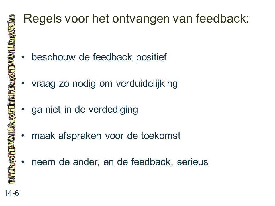 Regels voor het ontvangen van feedback: 14-6 beschouw de feedback positief vraag zo nodig om verduidelijking ga niet in de verdediging maak afspraken
