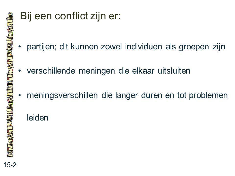 Bij een conflict zijn er: 15-2 partijen; dit kunnen zowel individuen als groepen zijn verschillende meningen die elkaar uitsluiten meningsverschillen