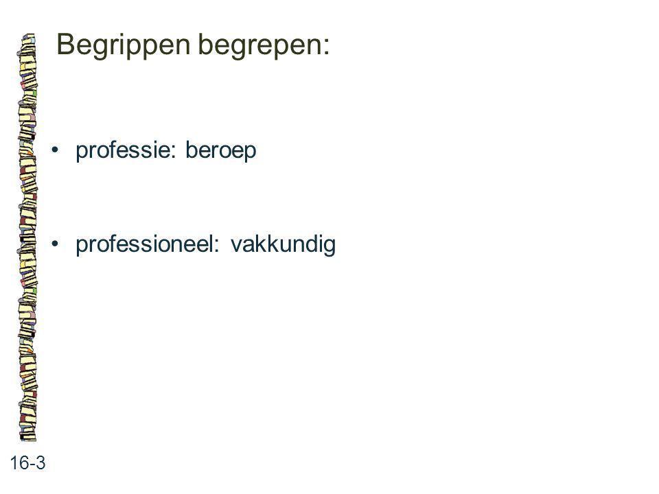 Begrippen begrepen: 16-3 professie: beroep professioneel: vakkundig
