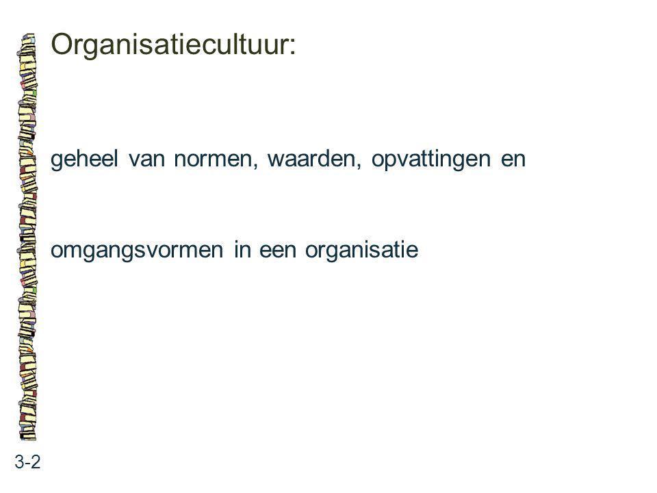 Organisatiecultuur: 3-2 geheel van normen, waarden, opvattingen en omgangsvormen in een organisatie