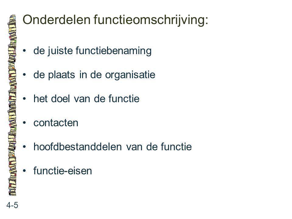 Onderdelen functieomschrijving: 4-5 de juiste functiebenaming de plaats in de organisatie het doel van de functie contacten hoofdbestanddelen van de f
