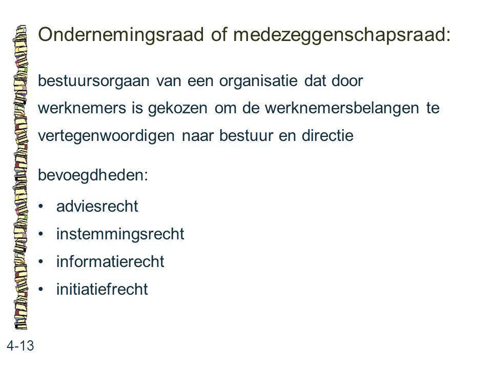 Ondernemingsraad of medezeggenschapsraad: 4-13 bestuursorgaan van een organisatie dat door werknemers is gekozen om de werknemersbelangen te vertegenw