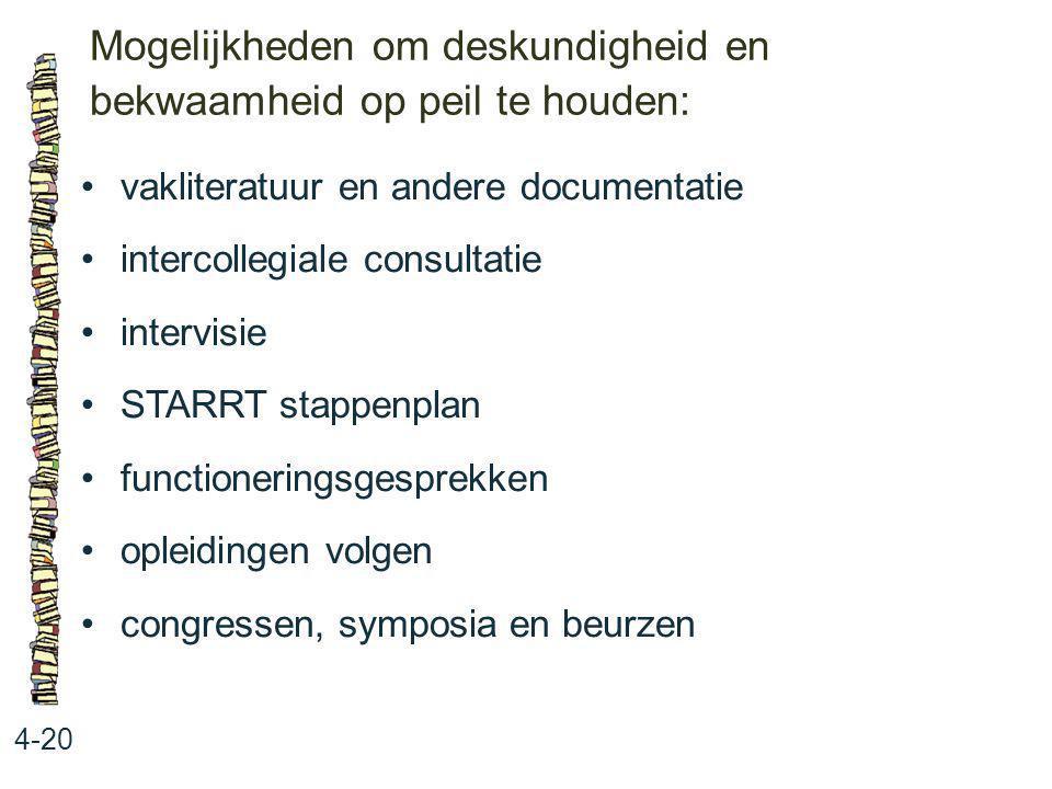 Mogelijkheden om deskundigheid en bekwaamheid op peil te houden: 4-20 vakliteratuur en andere documentatie intercollegiale consultatie intervisie STAR