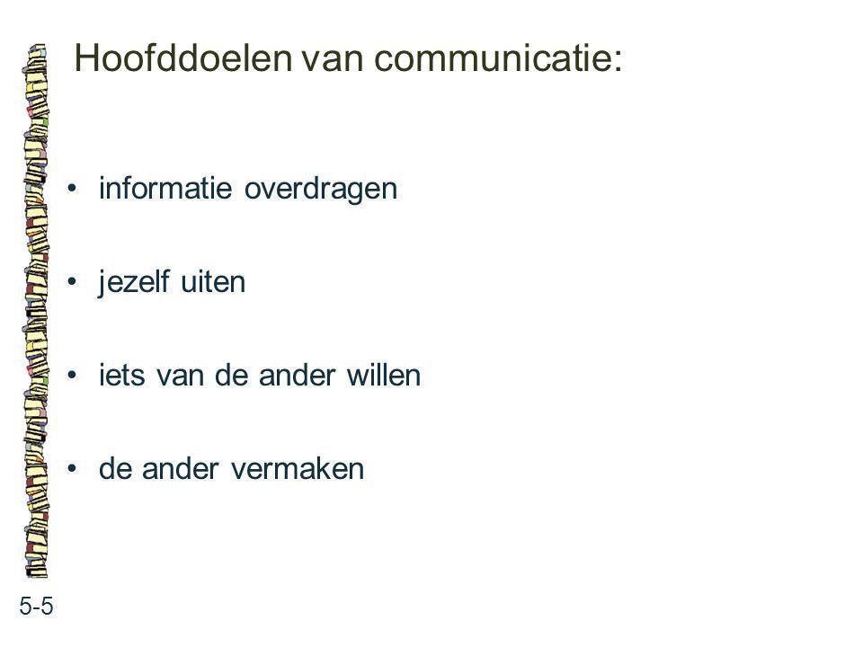 Hoofddoelen van communicatie: 5-5 informatie overdragen jezelf uiten iets van de ander willen de ander vermaken