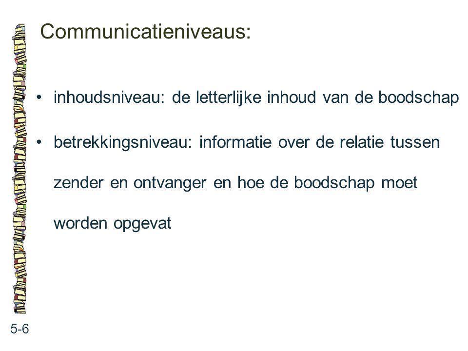 Communicatieniveaus: 5-6 inhoudsniveau: de letterlijke inhoud van de boodschap betrekkingsniveau: informatie over de relatie tussen zender en ontvange