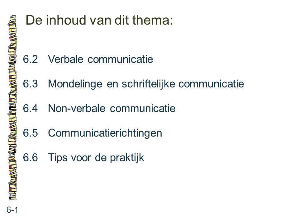 De inhoud van dit thema: 6-1 6.2 Verbale communicatie 6.3 Mondelinge en schriftelijke communicatie 6.4 Non-verbale communicatie 6.5 Communicatierichti