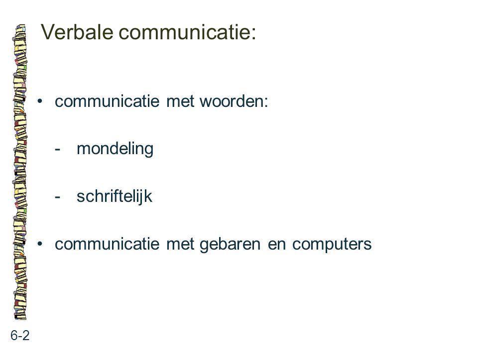 Verbale communicatie: 6-2 communicatie met woorden: -mondeling -schriftelijk communicatie met gebaren en computers