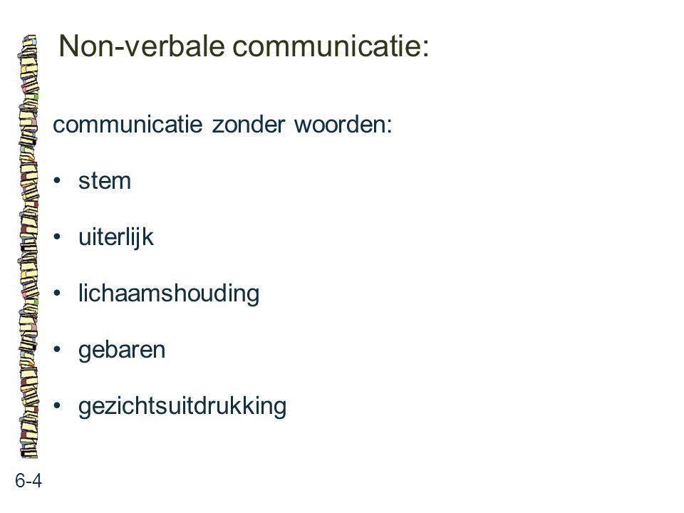 Non-verbale communicatie: 6-4 communicatie zonder woorden: stem uiterlijk lichaamshouding gebaren gezichtsuitdrukking