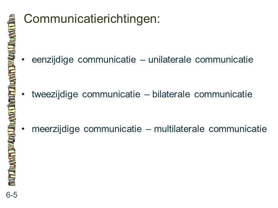 Communicatierichtingen: 6-5 eenzijdige communicatie – unilaterale communicatie tweezijdige communicatie – bilaterale communicatie meerzijdige communic