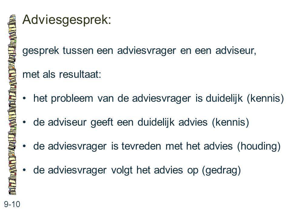 Adviesgesprek: 9-10 gesprek tussen een adviesvrager en een adviseur, met als resultaat: het probleem van de adviesvrager is duidelijk (kennis) de advi