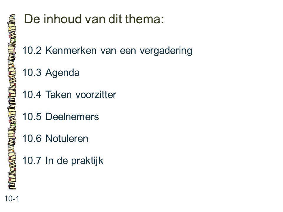 De inhoud van dit thema: 10-1 10.2Kenmerken van een vergadering 10.3 Agenda 10.4 Taken voorzitter 10.5 Deelnemers 10.6 Notuleren 10.7 In de praktijk
