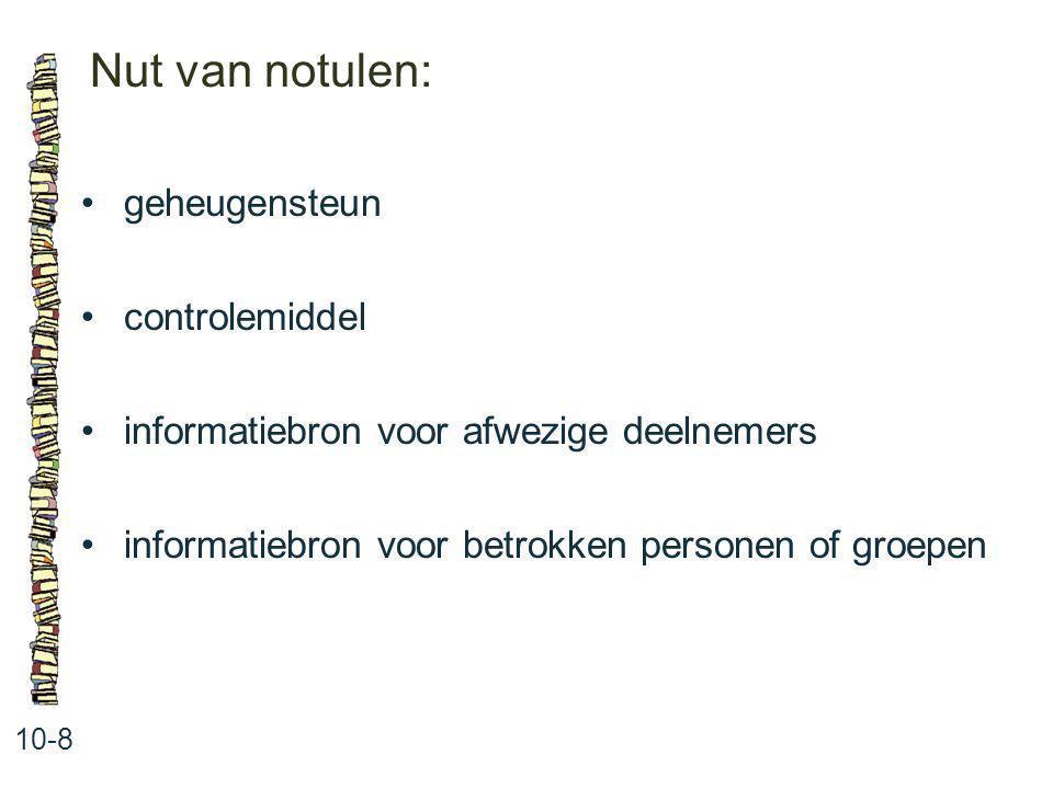 Nut van notulen: 10-8 geheugensteun controlemiddel informatiebron voor afwezige deelnemers informatiebron voor betrokken personen of groepen