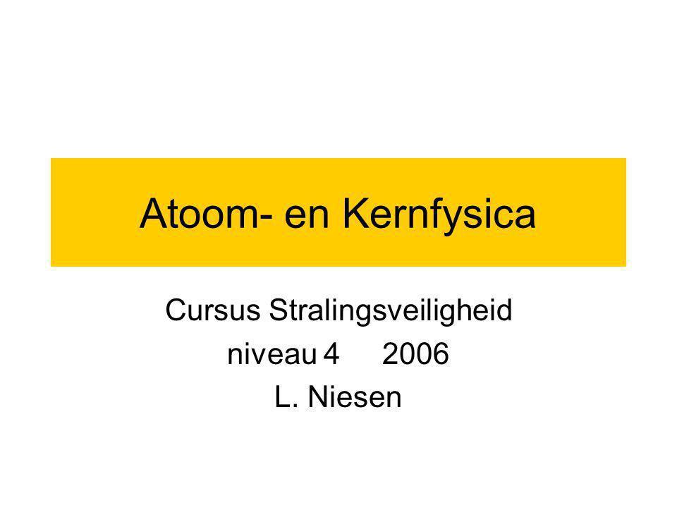 Opbouw van het atoom Atoom bestaat uit: positieve kern met daarin positieve protonen en neutrale neutronen Er omheen cirkelen negatieve elektronen Aantal protonen: Z (bepaalt het element) aantal neutronen: N aantal nucleonen: A = Z+N Nuclide: bepaalde combinatie van Z en N (of Z en A) notatie: A Z X Isotopen: nucliden met dezelfde Z en verschillende N Isobaren: nucliden met dezelfde A Isomeren: nucliden met dezelfde Z en N, maar in verschillende energieniveaus