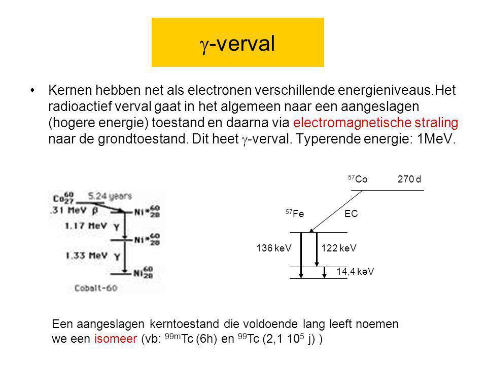  -verval Kernen hebben net als electronen verschillende energieniveaus.Het radioactief verval gaat in het algemeen naar een aangeslagen (hogere energ