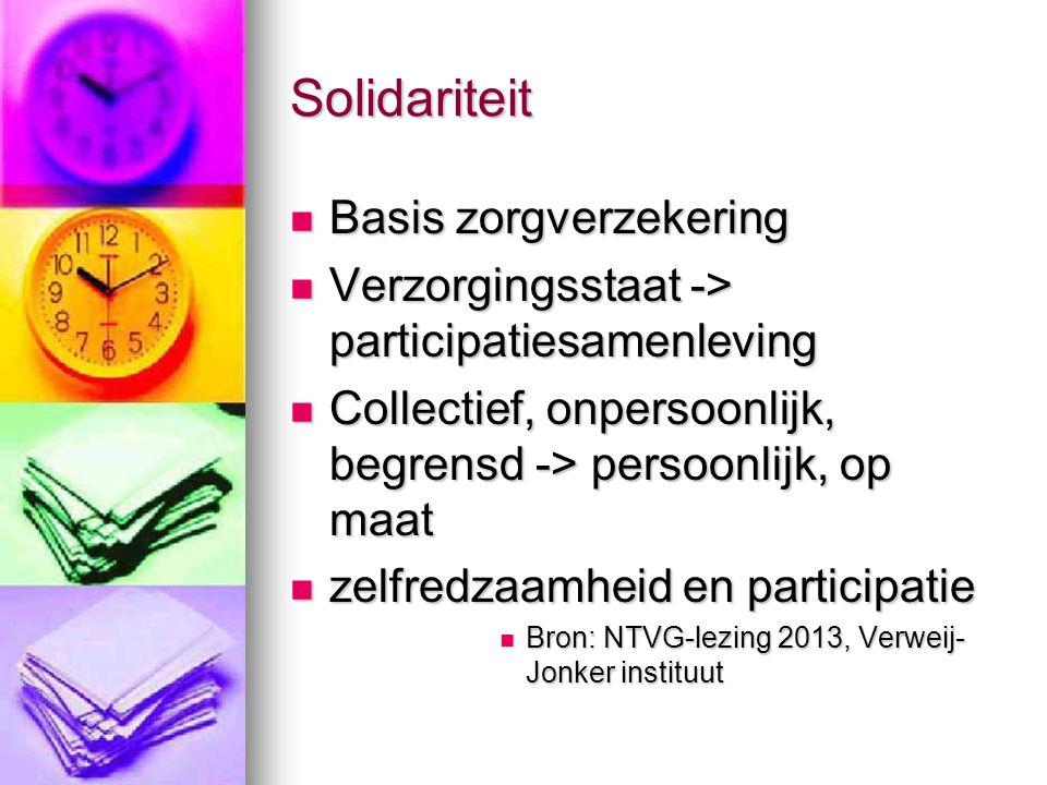 Solidariteit Basis zorgverzekering Basis zorgverzekering Verzorgingsstaat -> participatiesamenleving Verzorgingsstaat -> participatiesamenleving Collectief, onpersoonlijk, begrensd -> persoonlijk, op maat Collectief, onpersoonlijk, begrensd -> persoonlijk, op maat zelfredzaamheid en participatie zelfredzaamheid en participatie Bron: NTVG-lezing 2013, Verweij- Jonker instituut Bron: NTVG-lezing 2013, Verweij- Jonker instituut